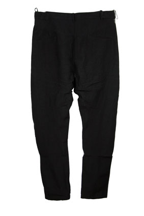 Masnada Men Trousers Black linen trousers, banana leg style view 3