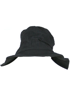 Masnada Men Hat Black crinkled fabric hat view 3