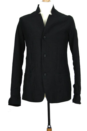 Masnada Men Jacket Black linen, slight crinkle finish jacket view 1