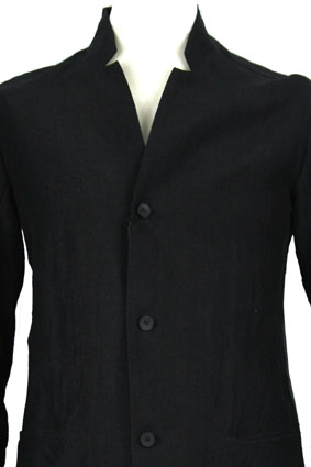 Masnada Men Jacket Black linen, slight crinkle finish jacket view 2
