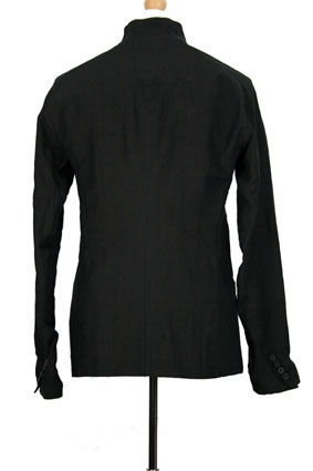 Masnada Men Jacket Black linen, slight crinkle finish jacket view 3