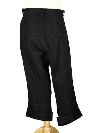 Rundholz Trousers Over-dyed, basket-weave, low-crotch trousers in black view 3
