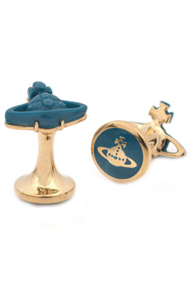 Vivienne Westwood Jewellery Cufflinks Idris Resin Cufflinks in silver plated finish with teal orb view 1