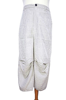 Aleksandr Manamis Lowish crotch, striped trouser, grey stripe on natural colour (Oyster)