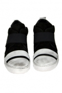 Masnada Men Sneakers in distressed white and black calf skin