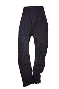 Masnada Men 'Baggy Cob' trousers, black resin treated, washed fabric