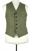 Nigel Cabourn Donegal short vest in army green