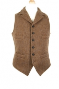 Nigel Cabourn Mallory Vest in Leather Brown